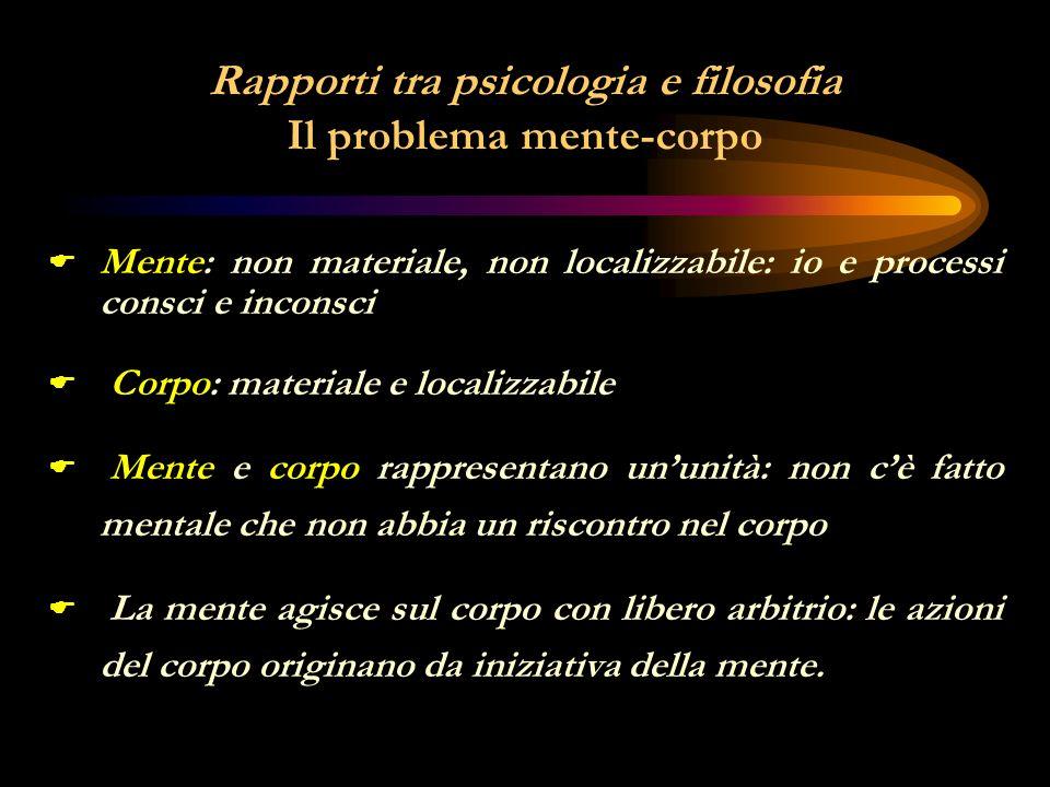 Rapporti tra psicologia e filosofia Il problema mente-corpo