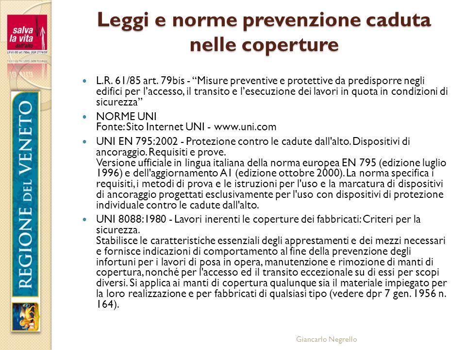Leggi e norme prevenzione caduta nelle coperture