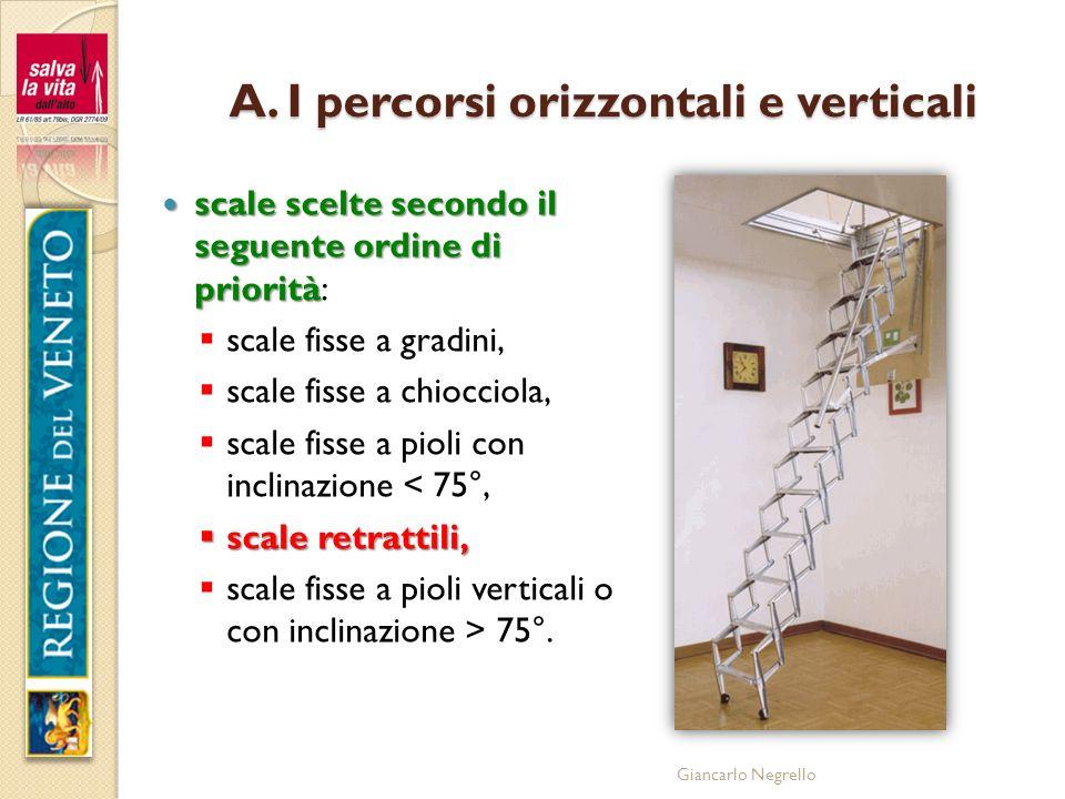 A. I percorsi orizzontali e verticali