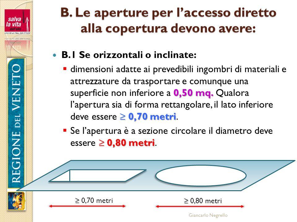 B. Le aperture per l'accesso diretto alla copertura devono avere: