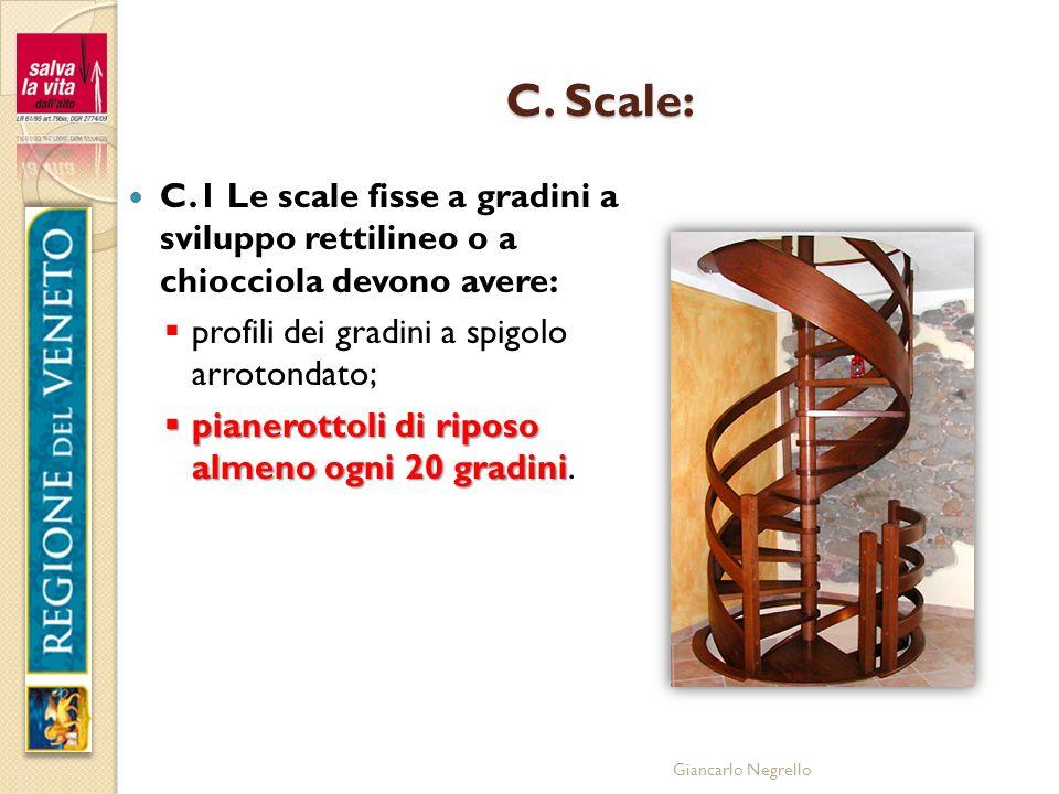 C. Scale: C.1 Le scale fisse a gradini a sviluppo rettilineo o a chiocciola devono avere: profili dei gradini a spigolo arrotondato;