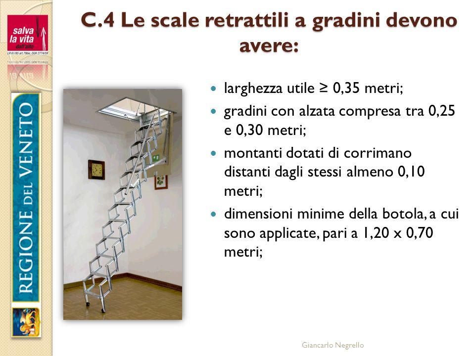 C.4 Le scale retrattili a gradini devono avere: