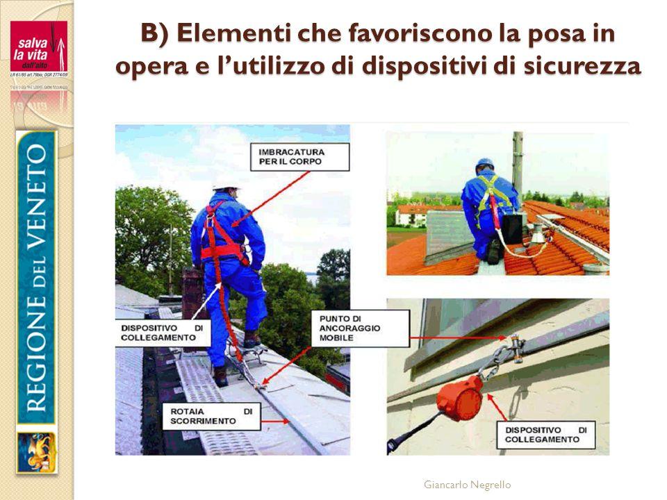 B) Elementi che favoriscono la posa in opera e l'utilizzo di dispositivi di sicurezza
