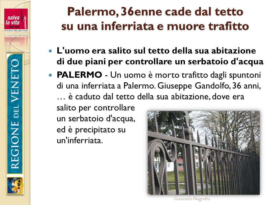 Palermo, 36enne cade dal tetto su una inferriata e muore trafitto
