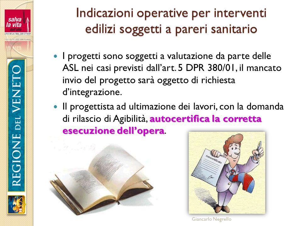 Indicazioni operative per interventi edilizi soggetti a pareri sanitario