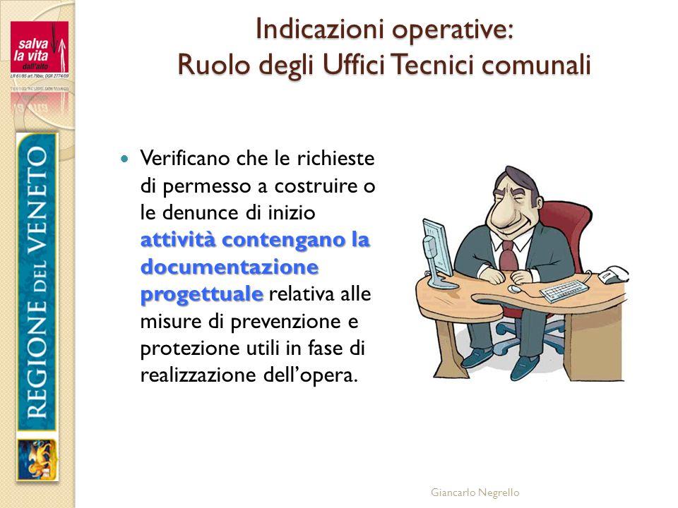 Indicazioni operative: Ruolo degli Uffici Tecnici comunali