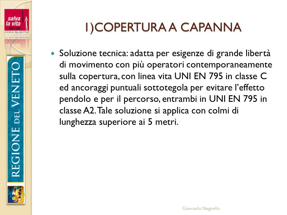 1)COPERTURA A CAPANNA