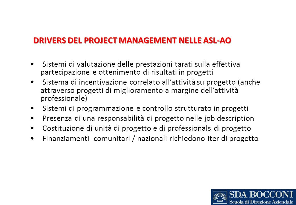 DRIVERS DEL PROJECT MANAGEMENT NELLE ASL-AO