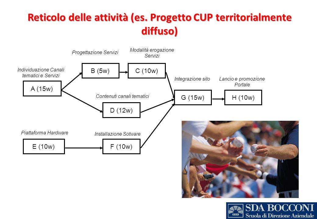 Reticolo delle attività (es. Progetto CUP territorialmente diffuso)