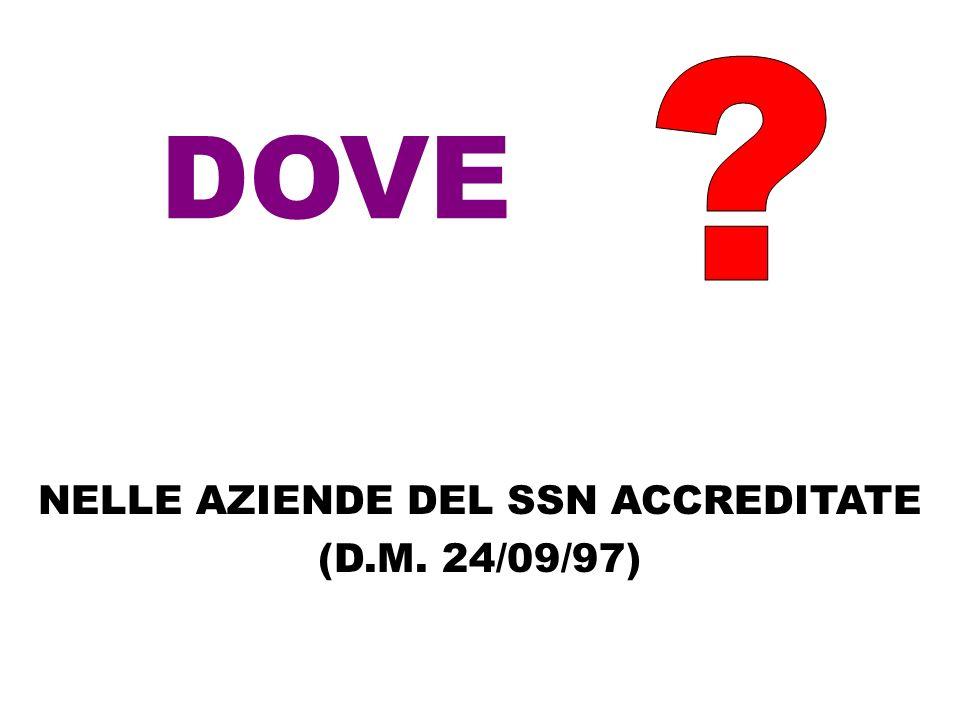 NELLE AZIENDE DEL SSN ACCREDITATE (D.M. 24/09/97)