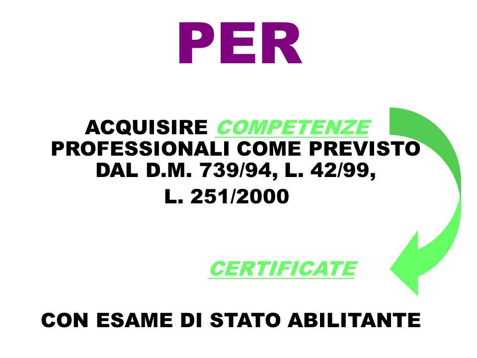 PERACQUISIRE COMPETENZE PROFESSIONALI COME PREVISTO DAL D.M. 739/94, L. 42/99, L. 251/2000 CERTIFICATE.