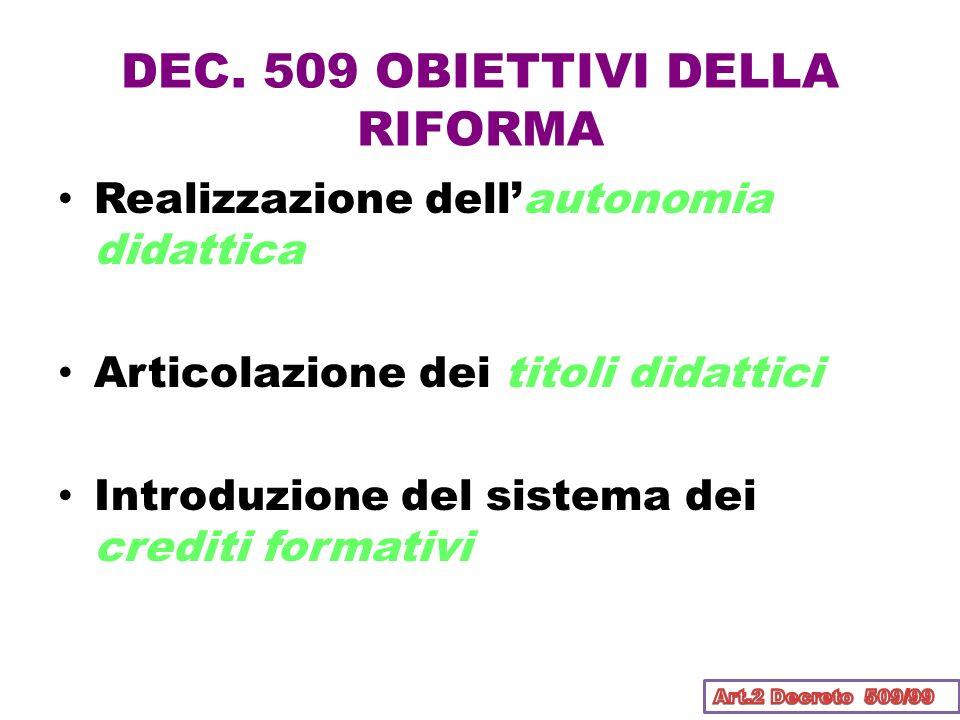 DEC. 509 OBIETTIVI DELLA RIFORMA