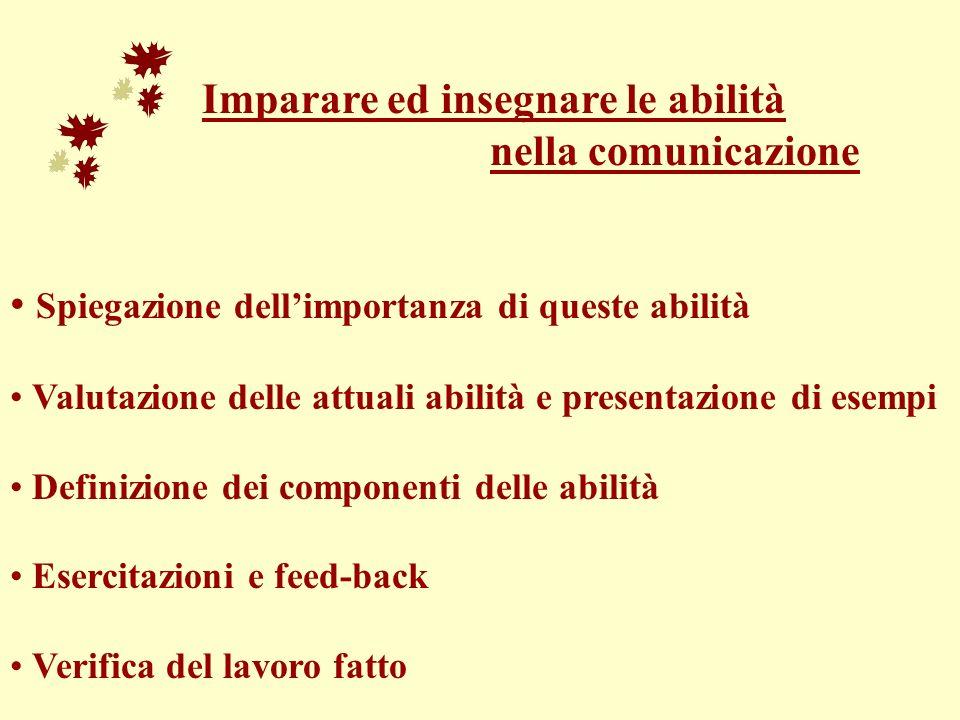 Imparare ed insegnare le abilità nella comunicazione