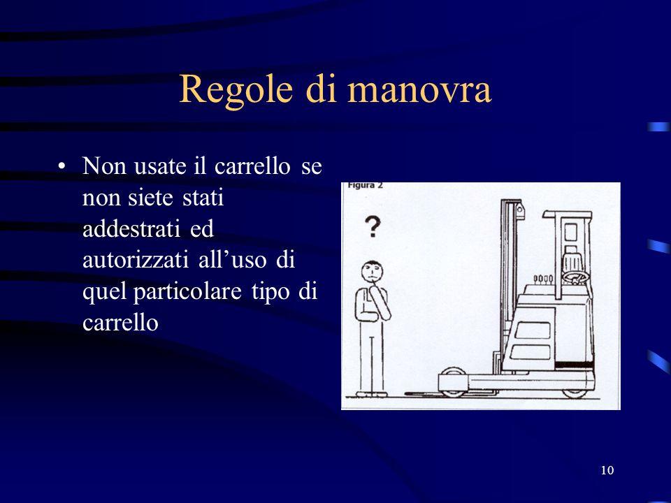 Regole di manovraNon usate il carrello se non siete stati addestrati ed autorizzati all'uso di quel particolare tipo di carrello.