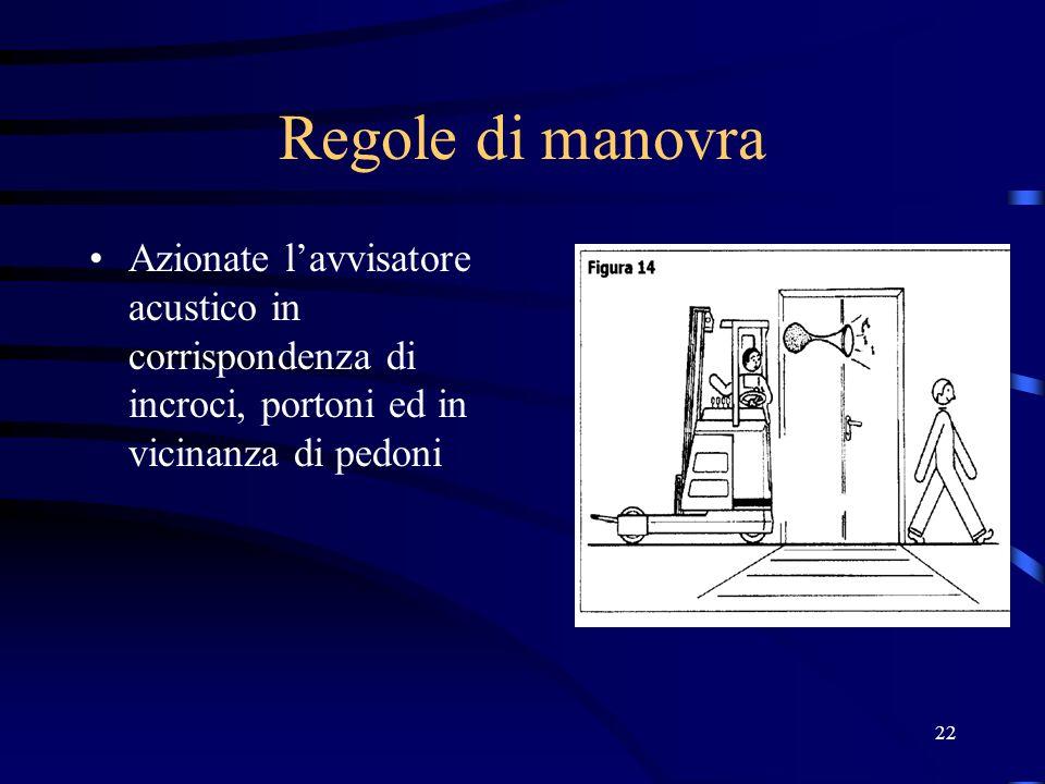 Regole di manovraAzionate l'avvisatore acustico in corrispondenza di incroci, portoni ed in vicinanza di pedoni.