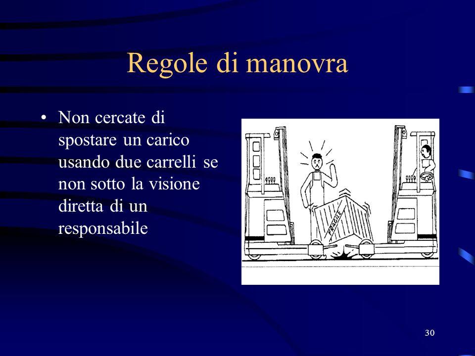 Regole di manovra Non cercate di spostare un carico usando due carrelli se non sotto la visione diretta di un responsabile.