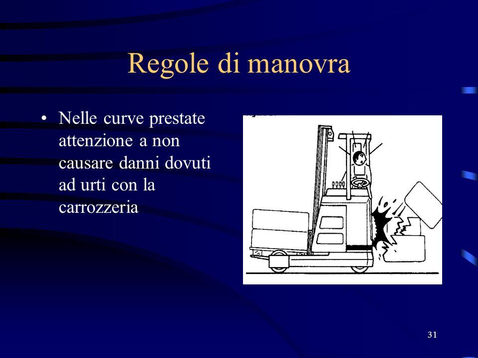 Regole di manovraNelle curve prestate attenzione a non causare danni dovuti ad urti con la carrozzeria.