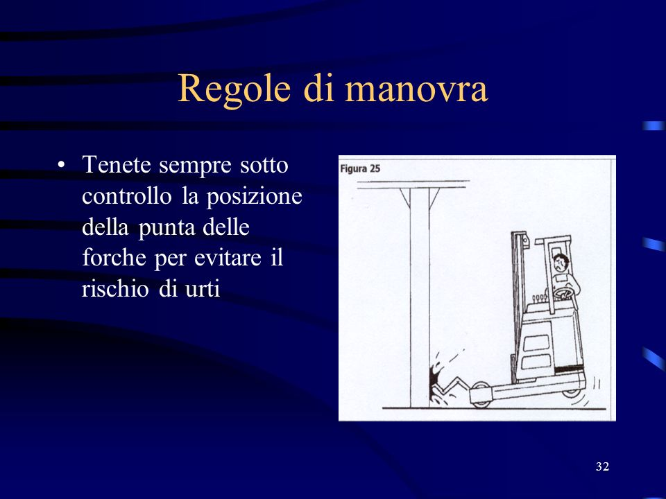 Regole di manovra Tenete sempre sotto controllo la posizione della punta delle forche per evitare il rischio di urti.