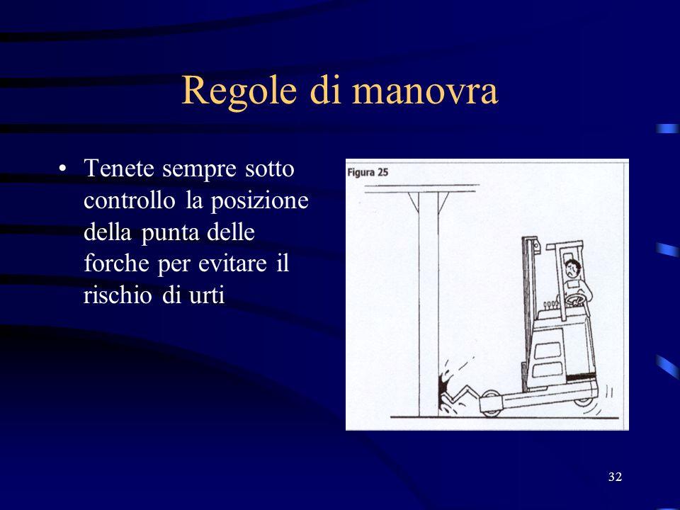Regole di manovraTenete sempre sotto controllo la posizione della punta delle forche per evitare il rischio di urti.