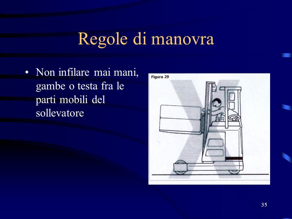Regole di manovra Non infilare mai mani, gambe o testa fra le parti mobili del sollevatore