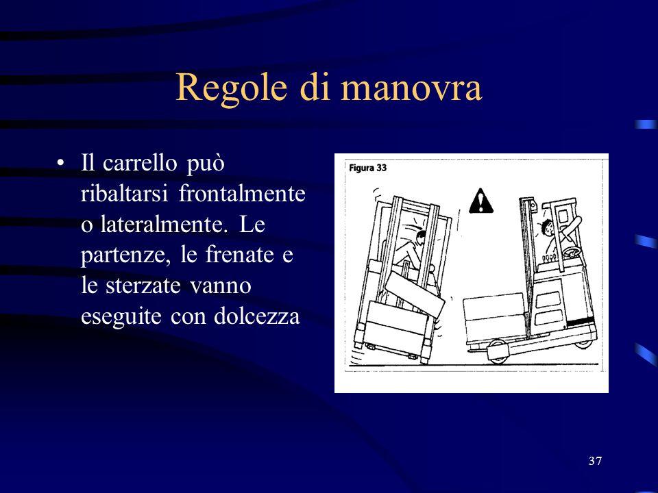 Regole di manovra Il carrello può ribaltarsi frontalmente o lateralmente.