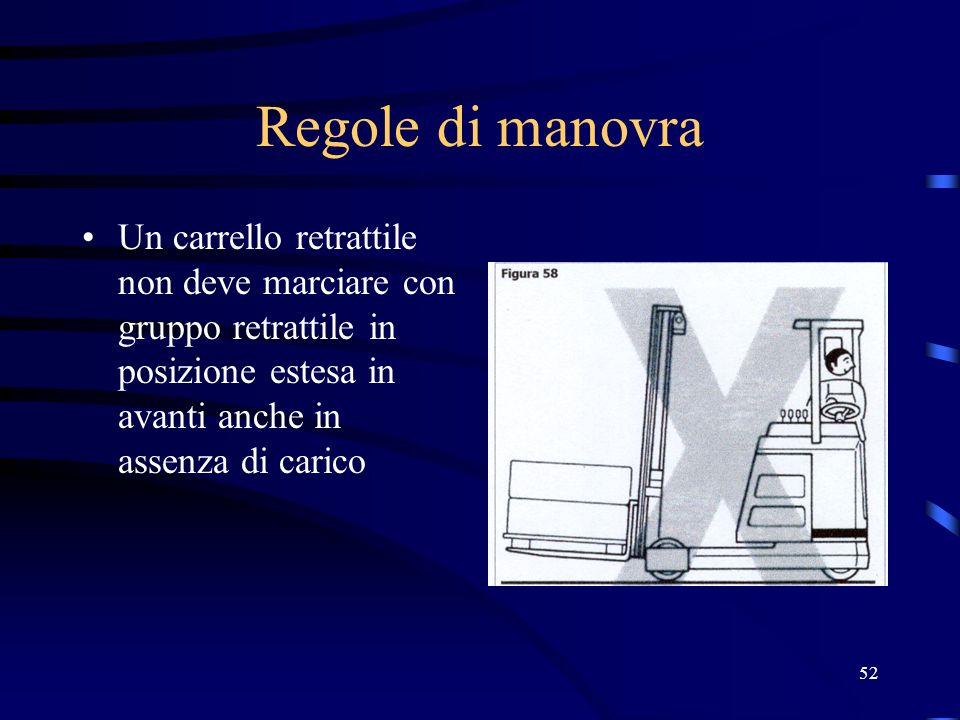 Regole di manovraUn carrello retrattile non deve marciare con gruppo retrattile in posizione estesa in avanti anche in assenza di carico.