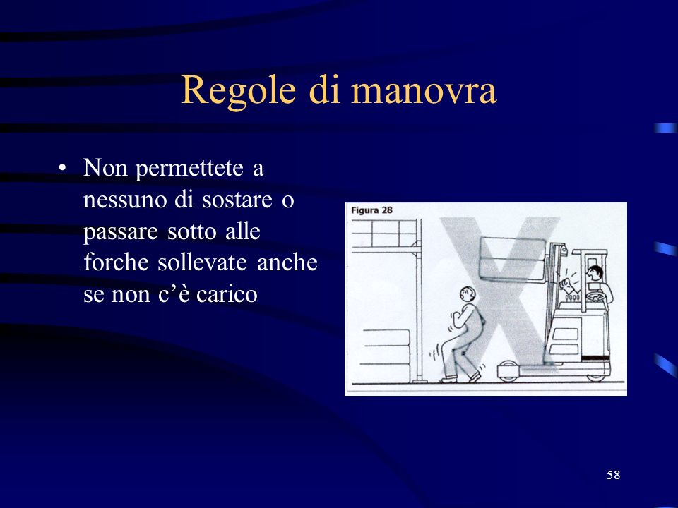 Regole di manovraNon permettete a nessuno di sostare o passare sotto alle forche sollevate anche se non c'è carico.