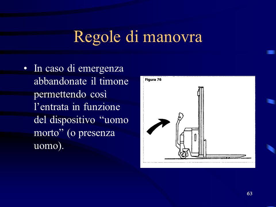 Regole di manovraIn caso di emergenza abbandonate il timone permettendo così l'entrata in funzione del dispositivo uomo morto (o presenza uomo).