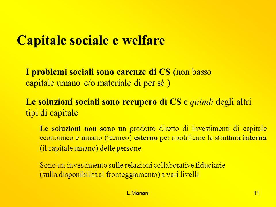 Capitale sociale e welfare