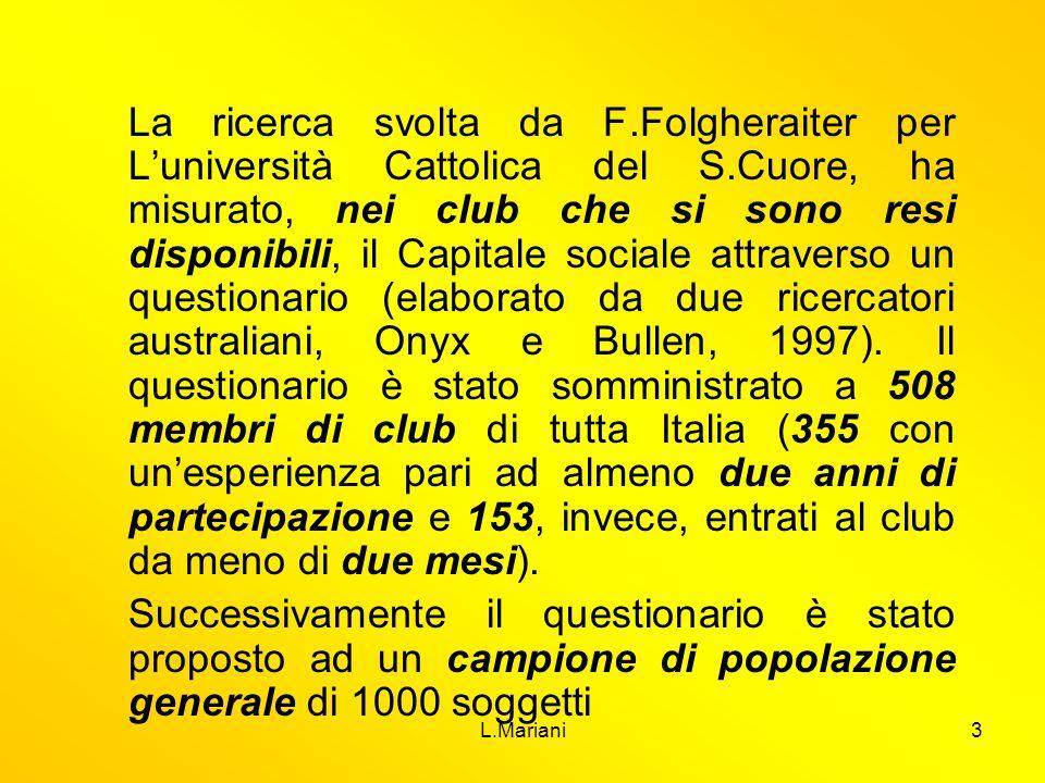 La ricerca svolta da F. Folgheraiter per L'università Cattolica del S