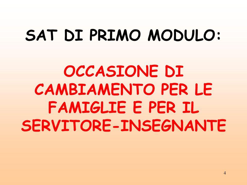 SAT DI PRIMO MODULO: OCCASIONE DI CAMBIAMENTO PER LE FAMIGLIE E PER IL SERVITORE-INSEGNANTE