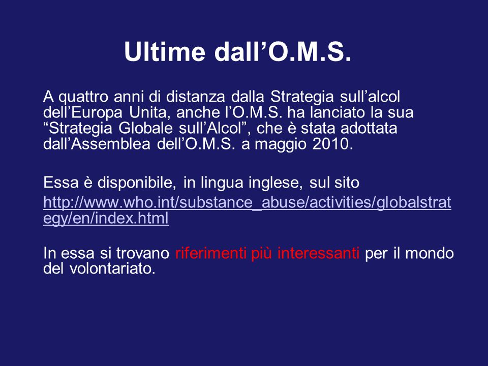 Ultime dall'O.M.S.