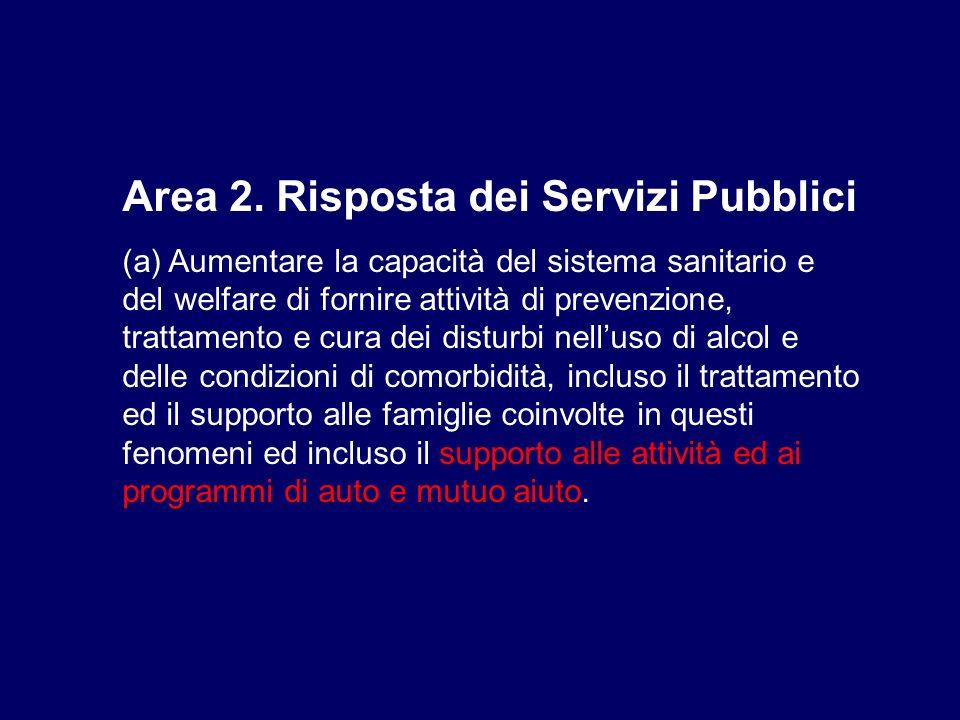 Area 2. Risposta dei Servizi Pubblici