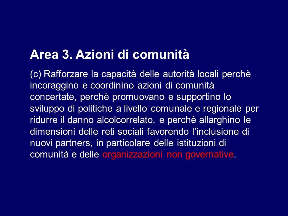 Area 3. Azioni di comunità