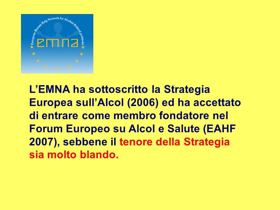 L'EMNA ha sottoscritto la Strategia Europea sull'Alcol (2006) ed ha accettato di entrare come membro fondatore nel Forum Europeo su Alcol e Salute (EAHF 2007), sebbene il tenore della Strategia sia molto blando.