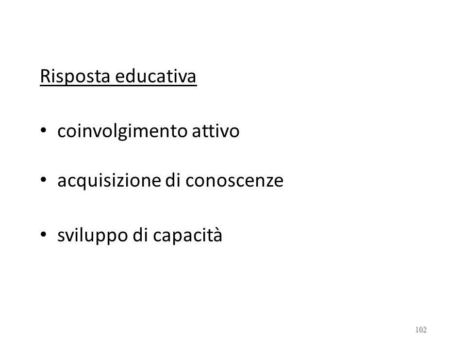 Risposta educativa coinvolgimento attivo acquisizione di conoscenze sviluppo di capacità