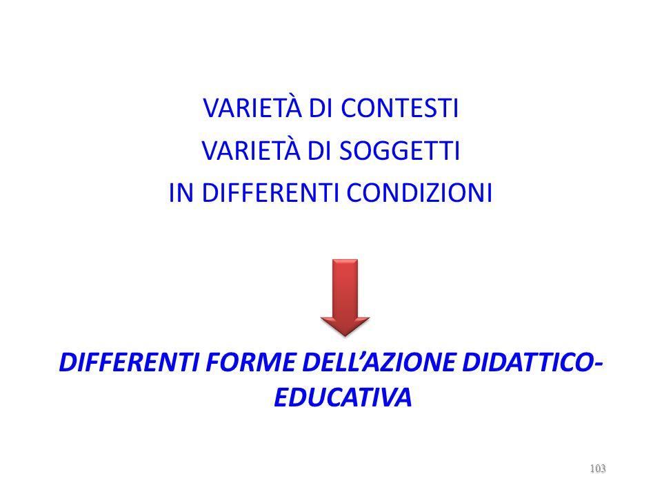 VARIETÀ DI CONTESTI VARIETÀ DI SOGGETTI IN DIFFERENTI CONDIZIONI DIFFERENTI FORME DELL'AZIONE DIDATTICO-EDUCATIVA