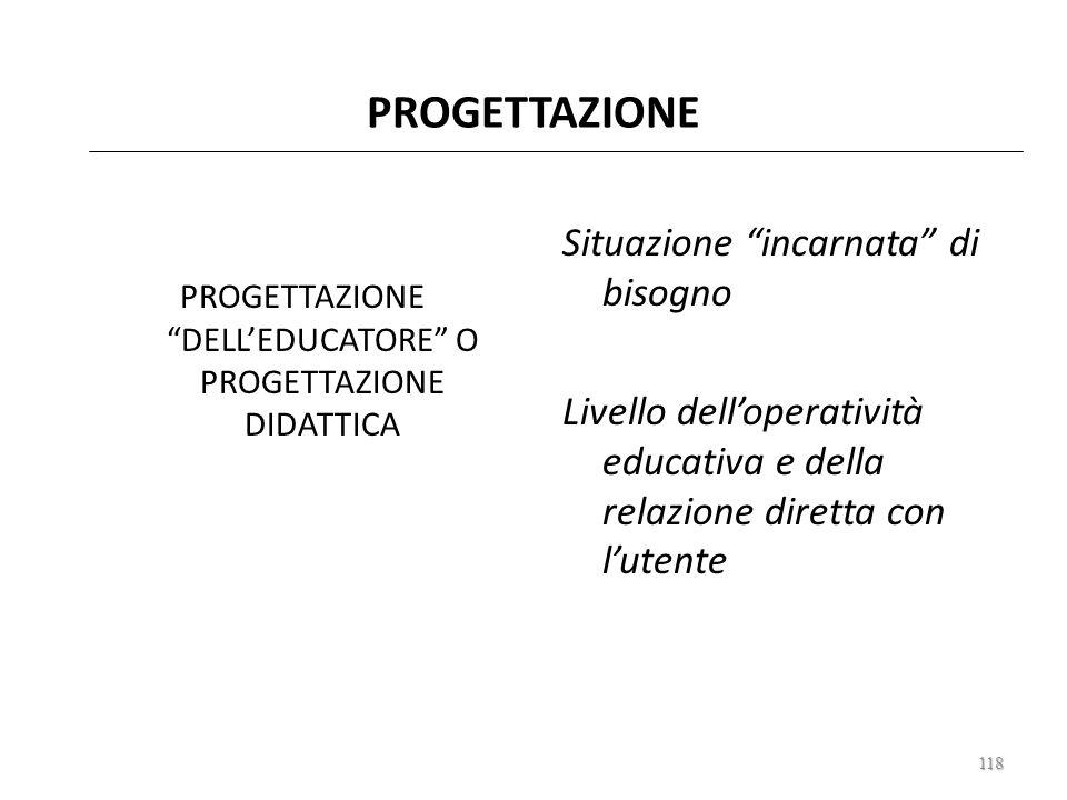 PROGETTAZIONE DELL'EDUCATORE O PROGETTAZIONE DIDATTICA