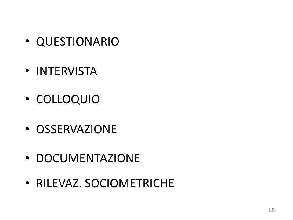 QUESTIONARIO INTERVISTA COLLOQUIO OSSERVAZIONE DOCUMENTAZIONE RILEVAZ. SOCIOMETRICHE