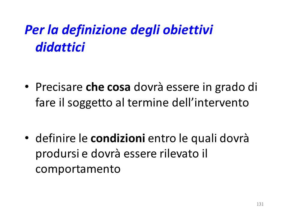 Per la definizione degli obiettivi didattici