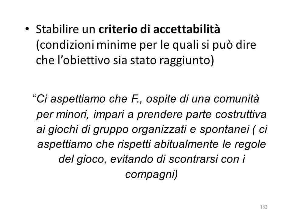 Stabilire un criterio di accettabilità (condizioni minime per le quali si può dire che l'obiettivo sia stato raggiunto)