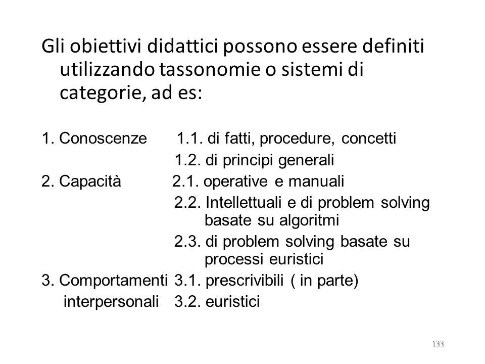 Gli obiettivi didattici possono essere definiti utilizzando tassonomie o sistemi di categorie, ad es: