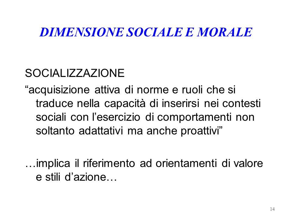 DIMENSIONE SOCIALE E MORALE