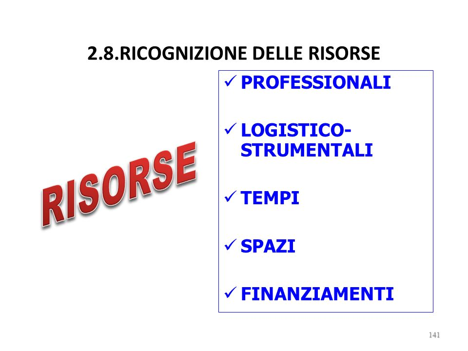2.8.RICOGNIZIONE DELLE RISORSE