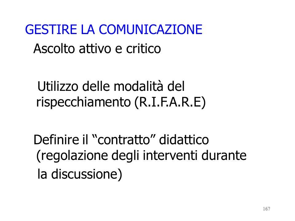 GESTIRE LA COMUNICAZIONE Ascolto attivo e critico Utilizzo delle modalità del rispecchiamento (R.I.F.A.R.E) Definire il contratto didattico (regolazione degli interventi durante la discussione)