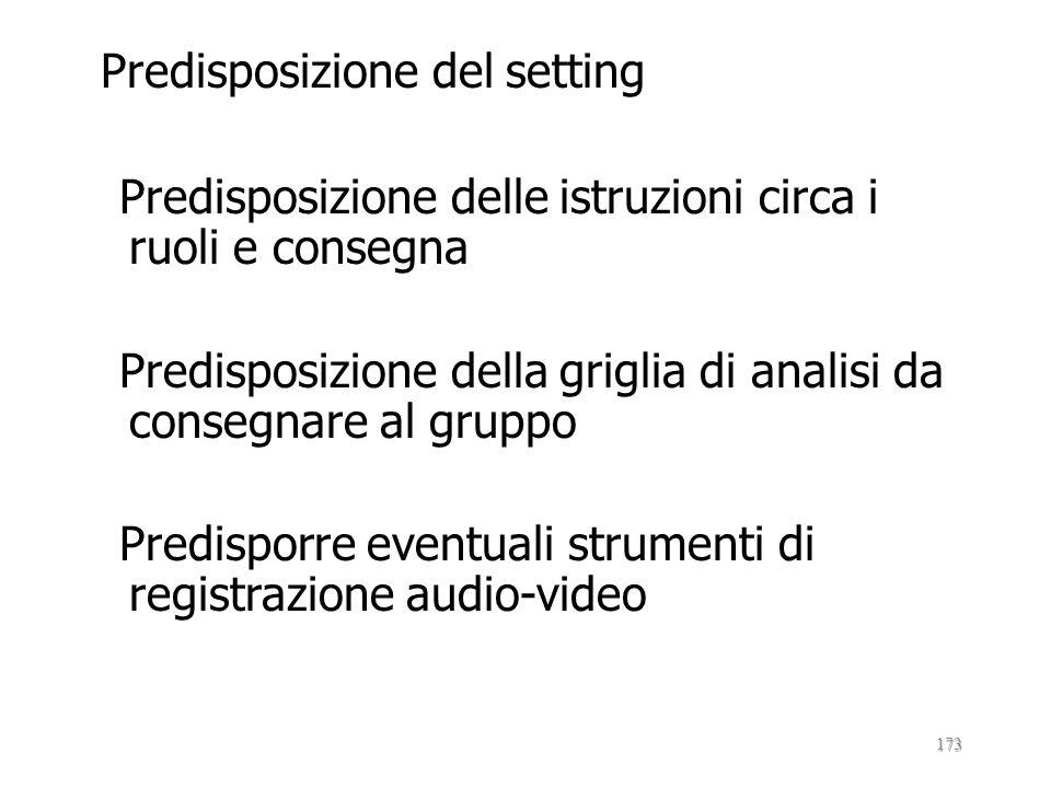 Predisposizione del setting Predisposizione delle istruzioni circa i ruoli e consegna Predisposizione della griglia di analisi da consegnare al gruppo Predisporre eventuali strumenti di registrazione audio-video