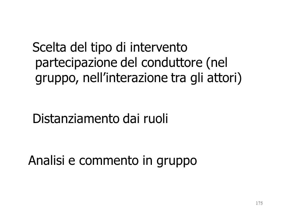 Scelta del tipo di intervento partecipazione del conduttore (nel gruppo, nell'interazione tra gli attori) Distanziamento dai ruoli Analisi e commento in gruppo