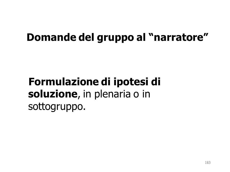Domande del gruppo al narratore Formulazione di ipotesi di soluzione, in plenaria o in sottogruppo.