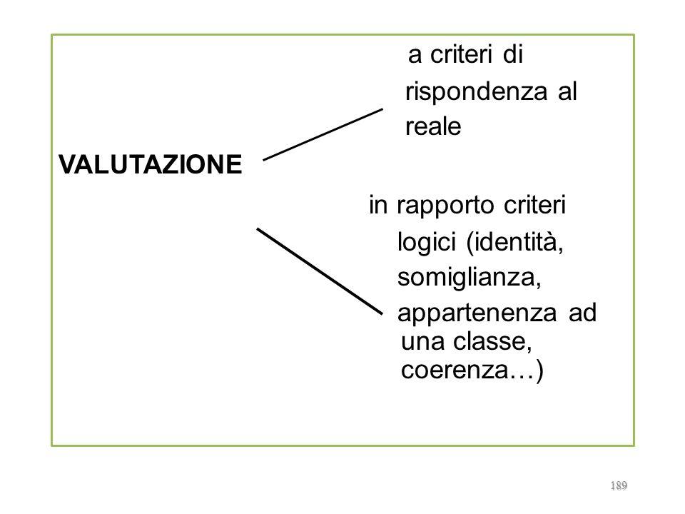 a criteri di in rapporto criteri rispondenza al reale VALUTAZIONE