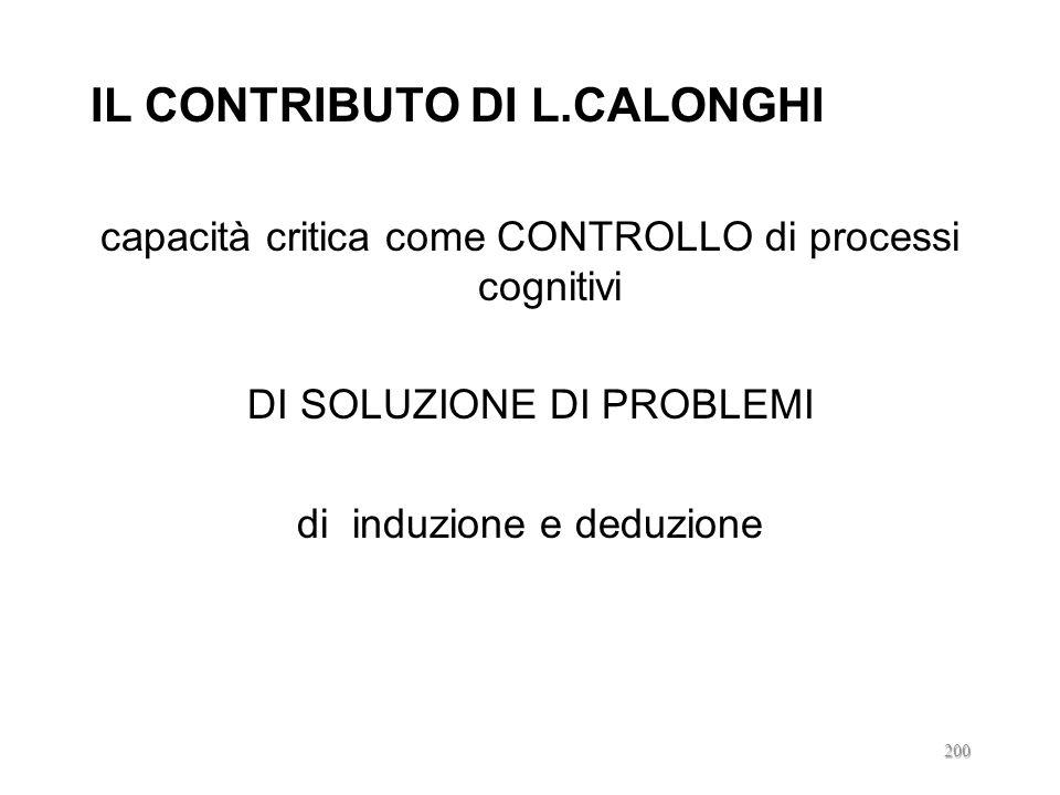 IL CONTRIBUTO DI L.CALONGHI